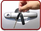 keys in front of car door handle