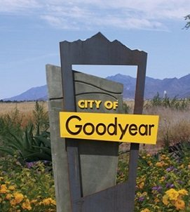 Goodyear sign to city