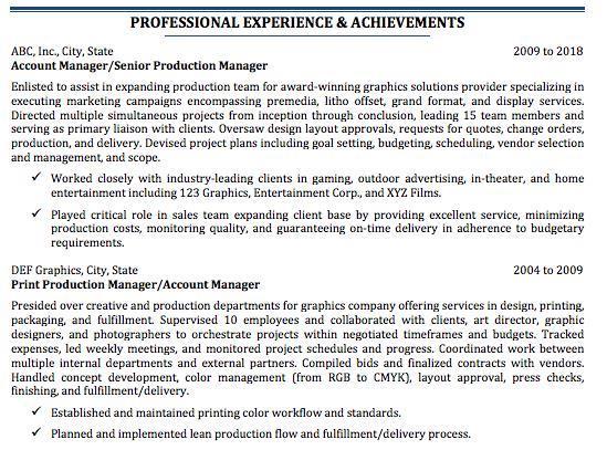 printing experience resume