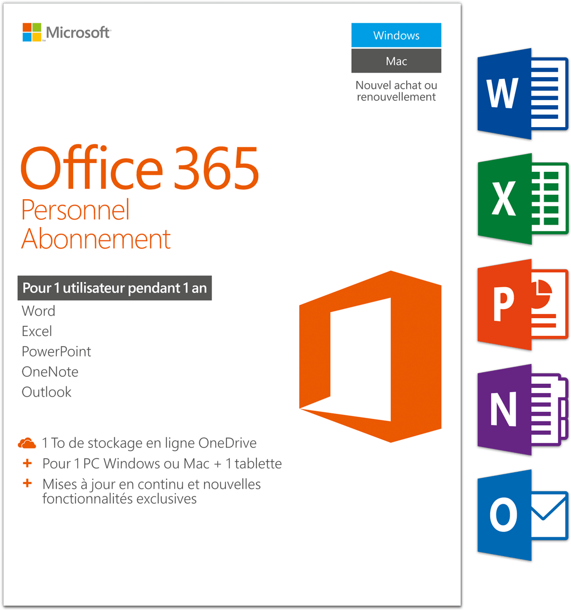 Microsoft Office Pour Tablette Microsoft Office 365 Personal Pc Mac 1 User Logiciel