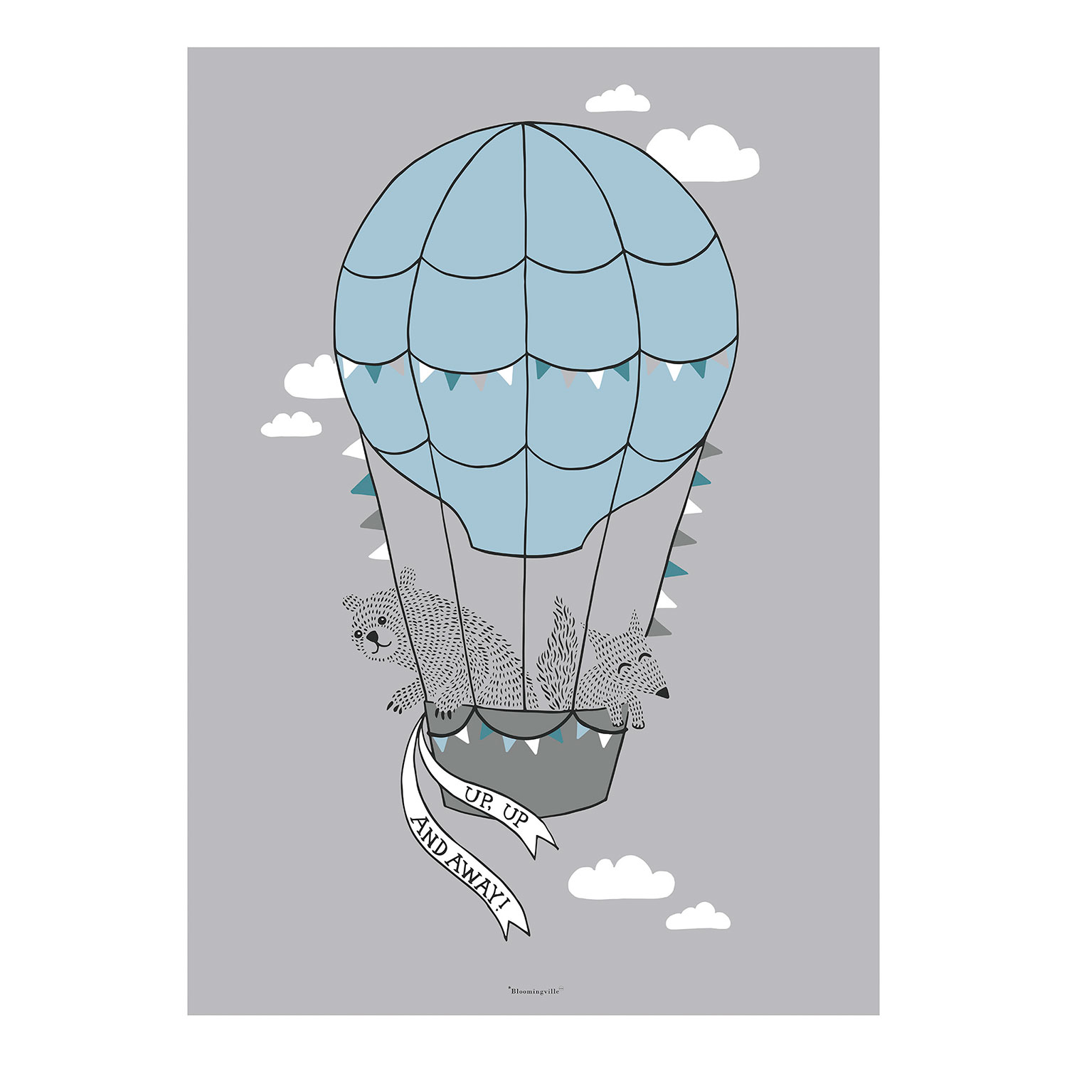 50x70 Poster Air Balloon Poster 50x70 Cm Grey