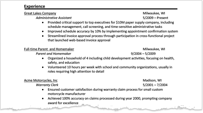 resume same company different dates