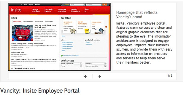 Vancity Intranet Screenshot