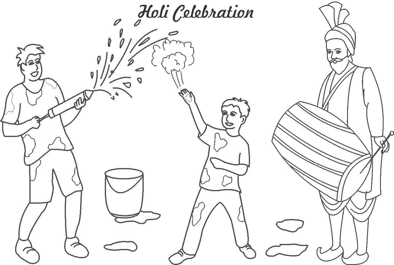 Holi coloring page