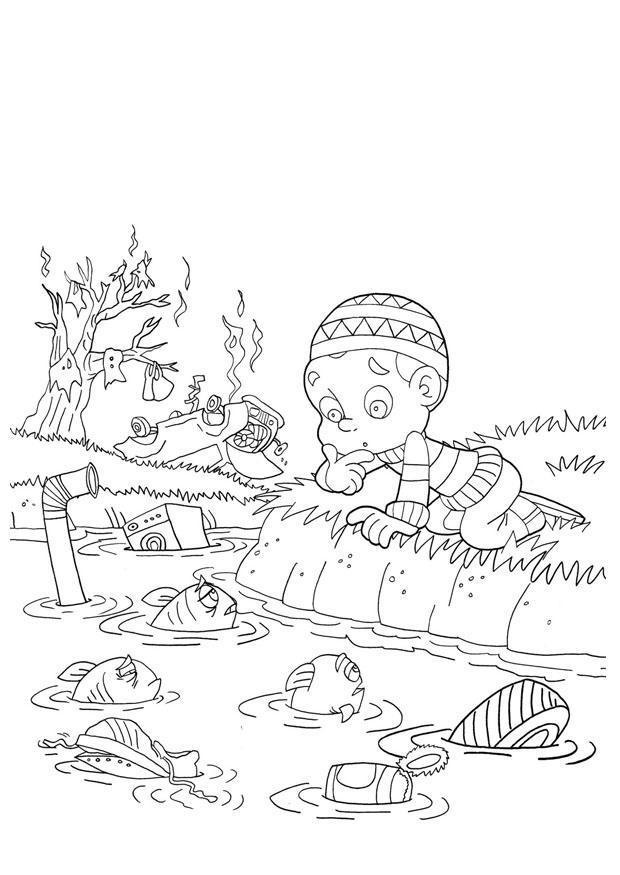 Water Pollution Coloring Pages - Eskayalitim