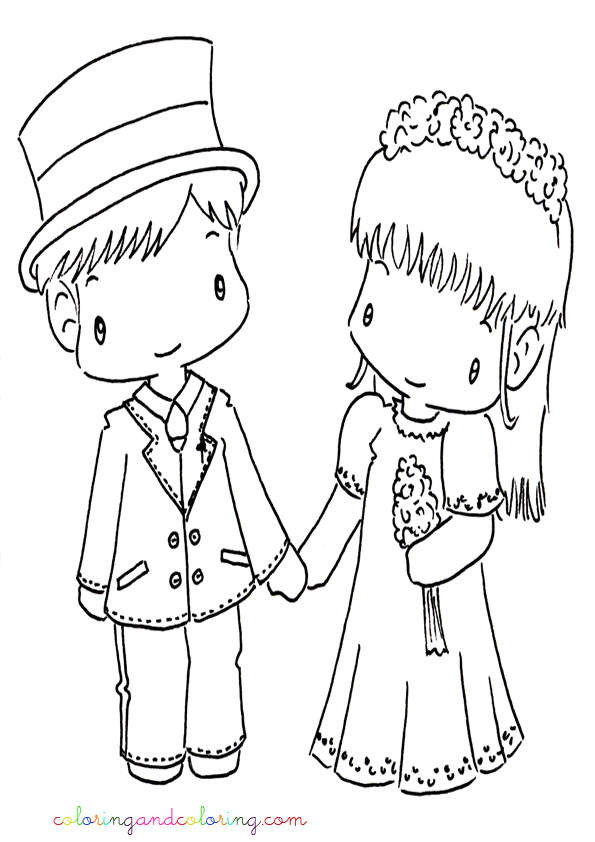 How To Draw A Bride And Groom Wedding Coloring Pages