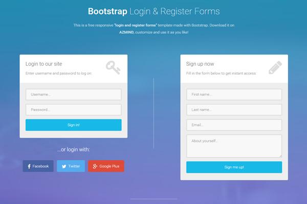 Bootstrap Login  Register Templates - registration template