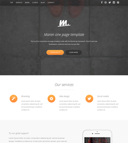 Free Template Maren Bootstrap 3  4 One Page Business Theme AZMIND - bootstrap one page template
