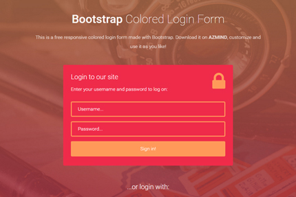 Bootstrap Colored Login Forms 3 Free Templates AZMIND