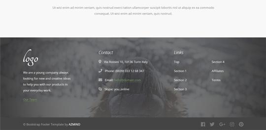 Bootstrap 4 Footer Free Templates with Logo, Navbar Menu  more