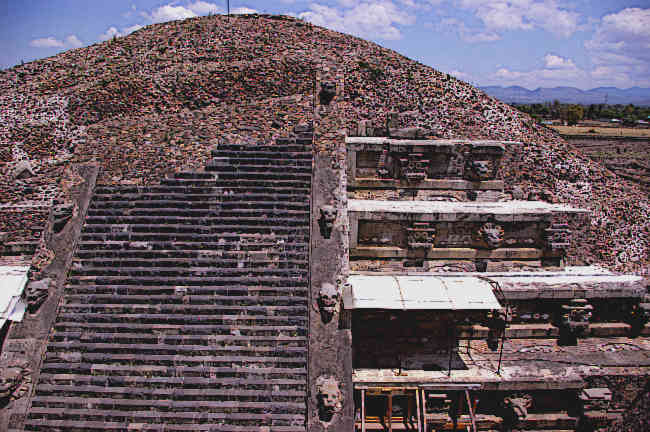 Ancient Aztec Temple of the feathered Serpent in Teotihuacan