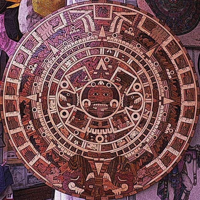 Wooden-Aztec-Sun-Stone