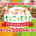 2018/8/31エバラ食品工業 たれプラス&中華調味料を買って応募しよう!たっぷりも、ちょこっとも!プレゼントキャンペーン