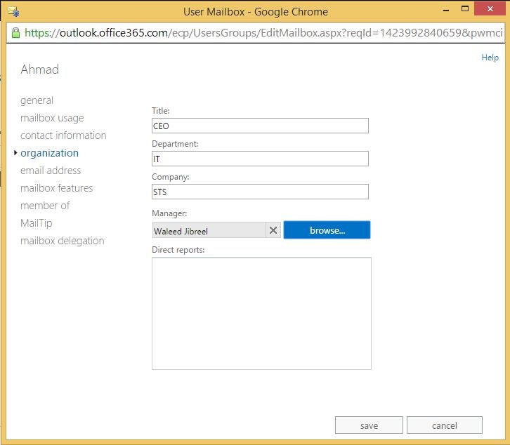 Organization - User Mailbox