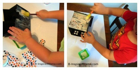 Making Our Mod Podge Haunted House Kids Craft for Halloween at B-Inspired Mama