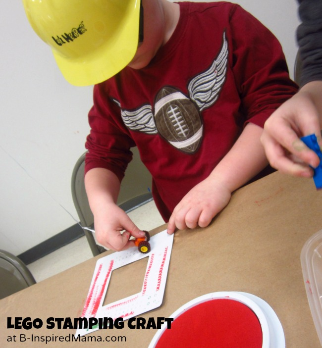 LEGO Party Stamping Craft at B-Inspired Mama