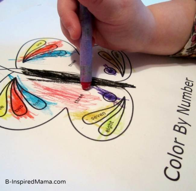 Butterfly Color by Number Word Printable from Preschool Powol Packets and B-InspiredMama.com