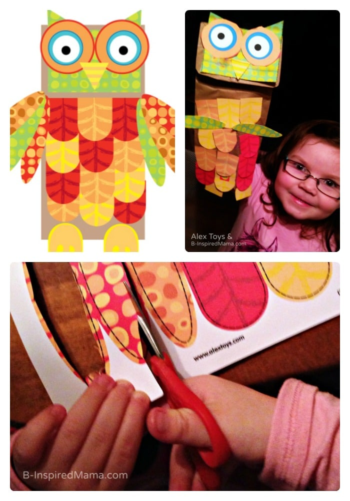 Free Printables for Kids - Make a Paper Bag Owl Puppet - Sponsored by Alex Toys at B-Inspired Mama