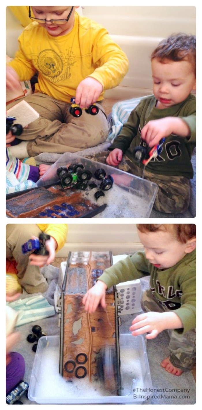 Sensory Play with a Monster Truck Wash - Sponsored by #TheHonestCompany at B-Inspired Mama