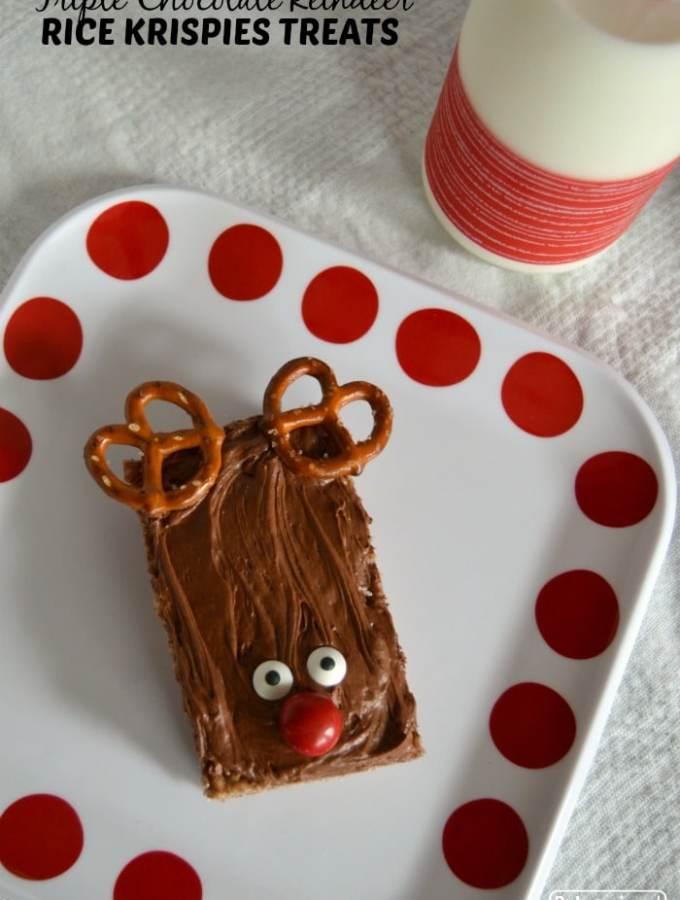 Triple Chocolate Reindeer Rice Krispies® Treats