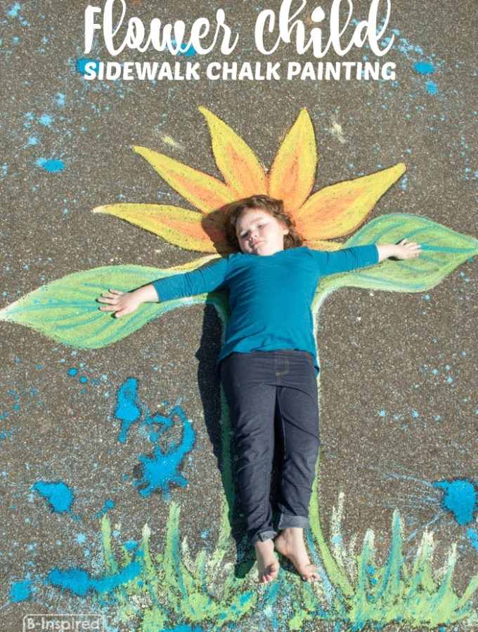 Flower Child Sidewalk Chalk Art – A Creative Kids Photo Op