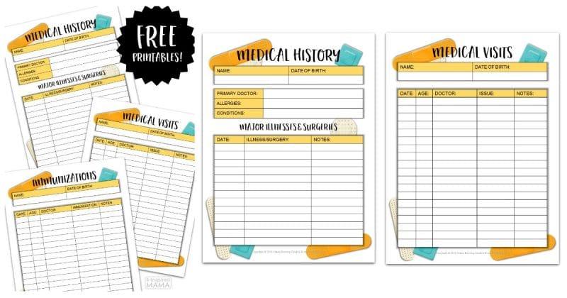 Kids Medical History Form Printables - for Back to School Prep