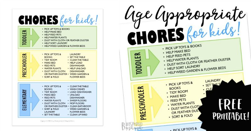 Age Appropriate Chores List Printable + Fun and Free Chore Rewards
