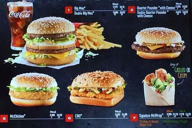 McDonald\u0027s Menu, Menu for McDonald\u0027s, Downtown Yonge, Toronto