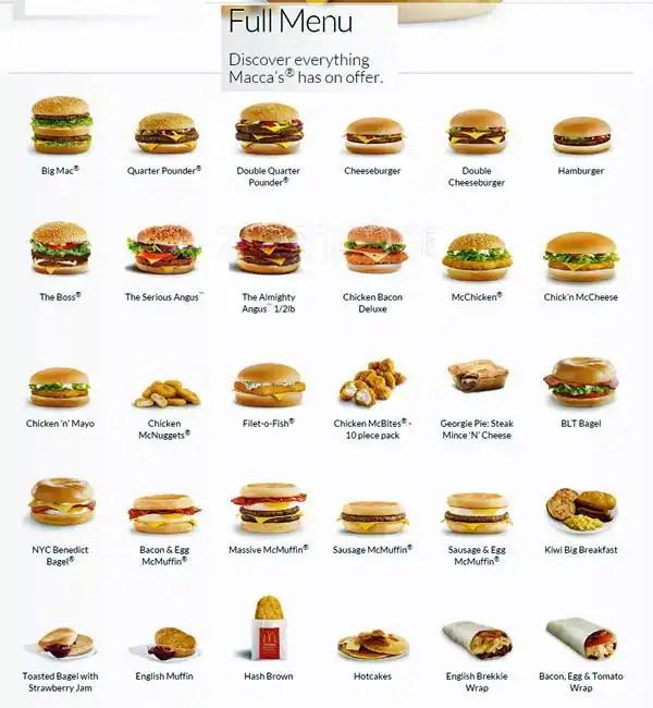 McDonald\u0027s Menu, Menu for McDonald\u0027s, Shirley, Christchurch