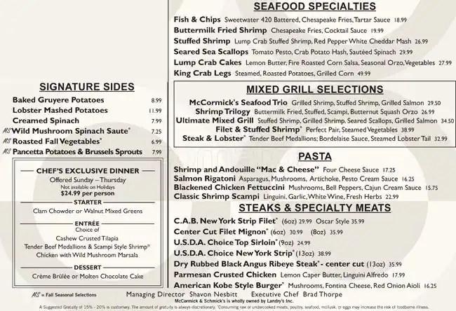 Menu At Mccormick Schmick39s Seafood Steaks Restaurant