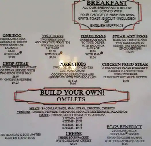 The Breakfast Place Menu, Menu for The Breakfast Place, Spring