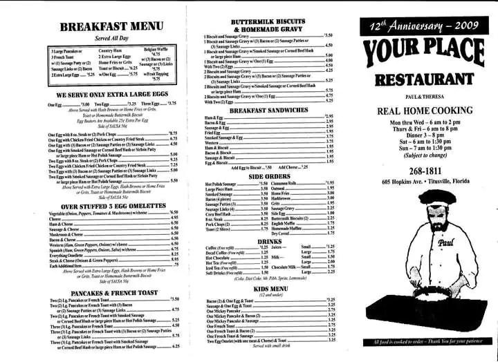 Your Place Restaurant Menu, Menu for Your Place Restaurant