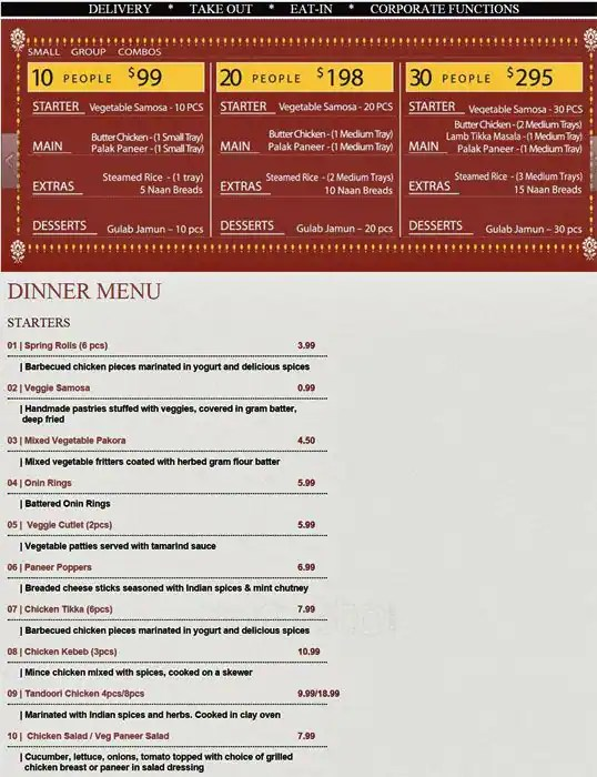 Menu at Bombay to Go restaurant, Mississauga, 755 Dundas St W A7