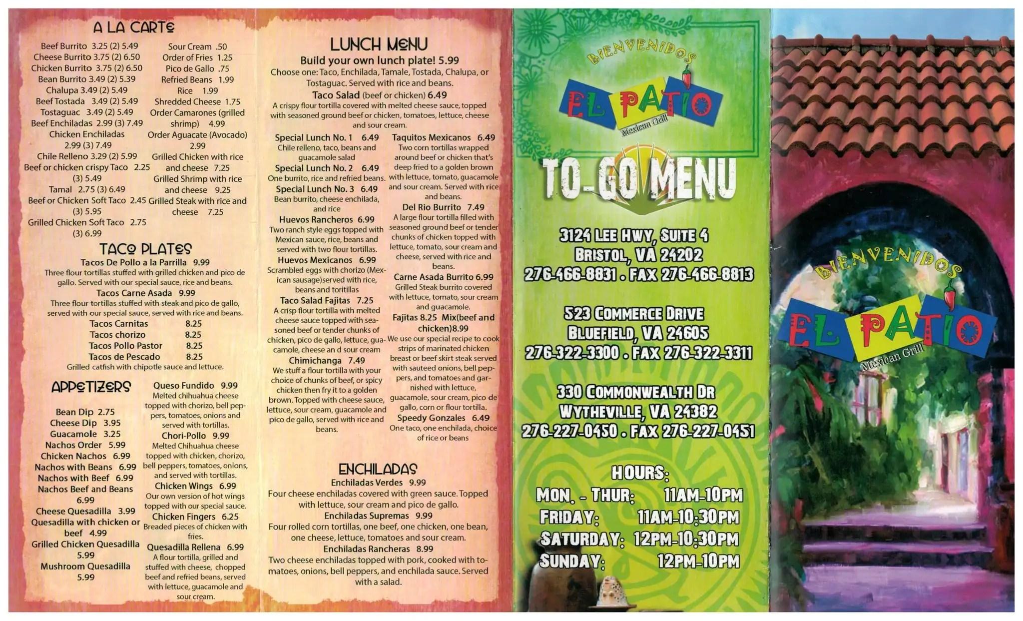 El Patio Mexican Grill Menu, Menu for El Patio Mexican