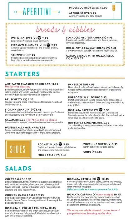 Menu at ASK Italian - Glasgow Port Dundas Place restaurant, Glasgow - italian menu