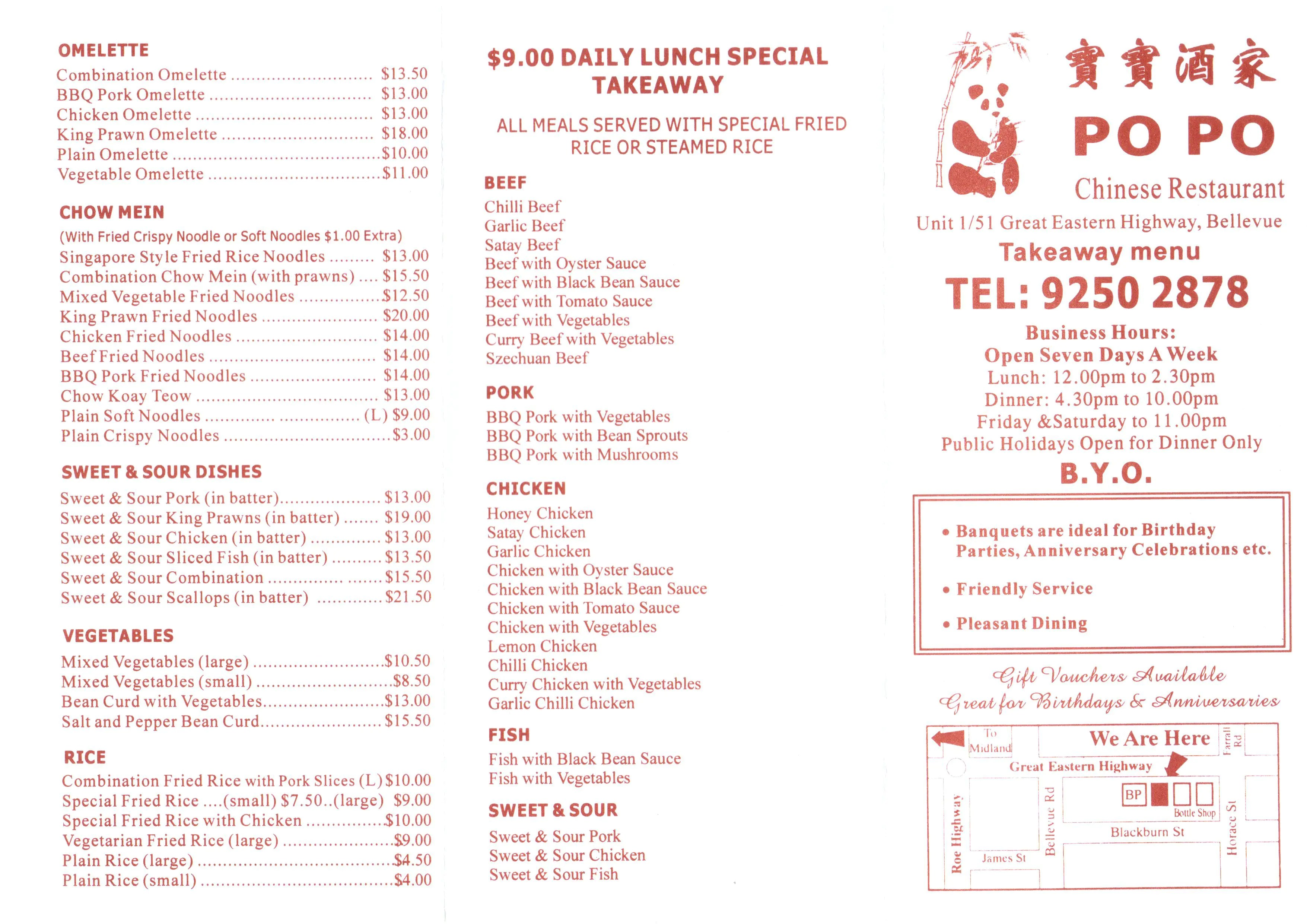 Breakfast Delivery Perth Po Po Chinese Restaurant Menu Menu For Po Po Chinese Restaurant