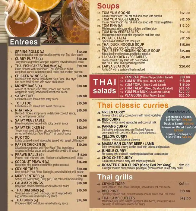 Your Place Thai Menu, Menu for Your Place Thai, Tamworth, Tamworth