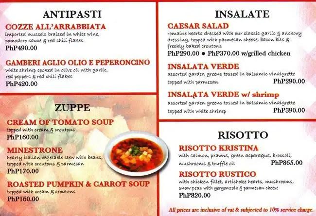C\u0027 Italian Dining Menu, Menu for C\u0027 Italian Dining, Salcedo Village