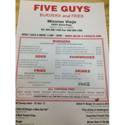 Medium Crop Of Five Guys All The Way
