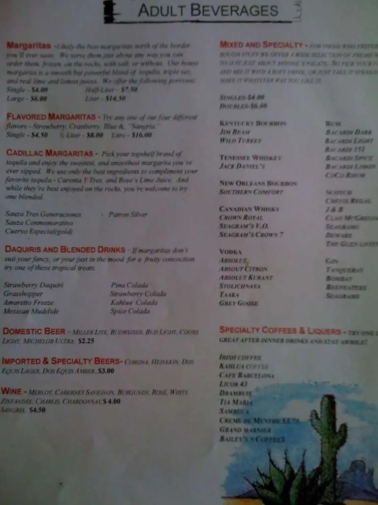 El Camino Restaurant Incorporated Menu