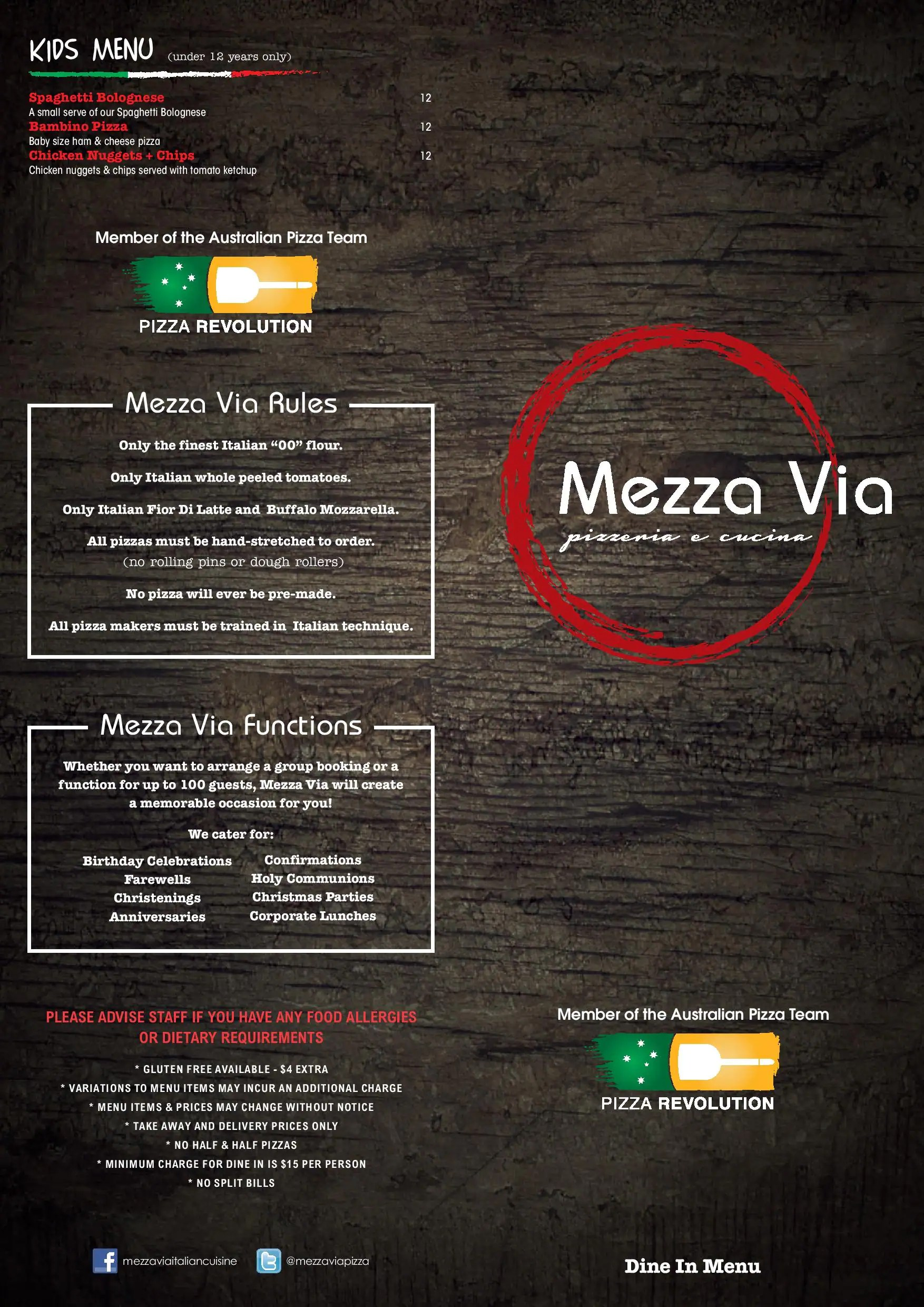 Italian Take Away Menu Mezza Via Italian Cuisine Menu Urbanspoon Zomato