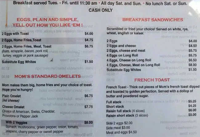 Menu at Your Mom\u0027s Place restaurant, Phoenixville