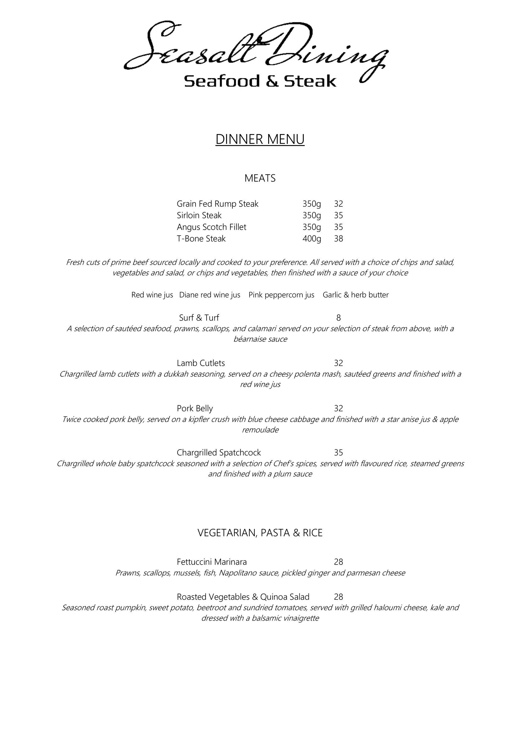 Dining Menu Seasalt Dining Menu Menu For Seasalt Dining Bruce Act