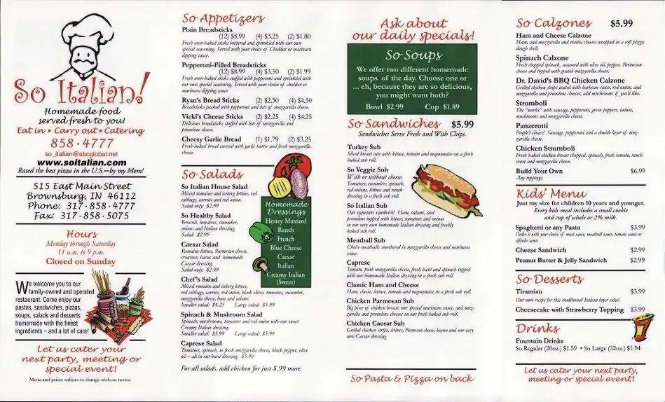 So Italian! Menu, Menu for So Italian!, Brownsburg, Indianapolis - italian menu