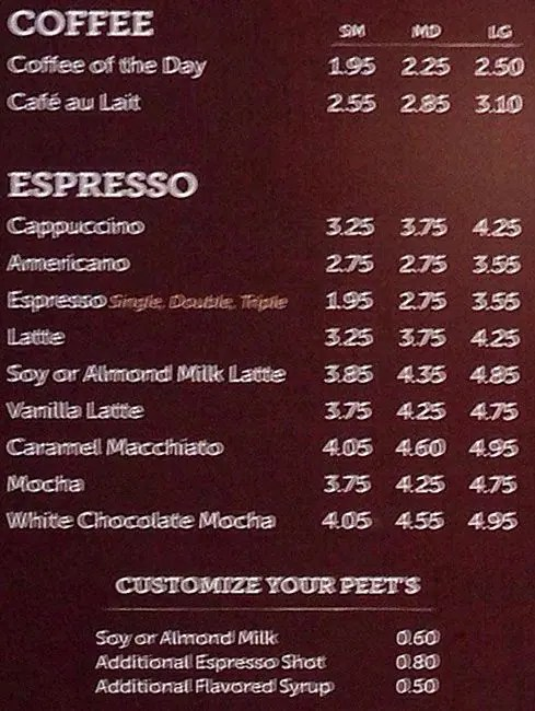 Peet\u0027s Coffee  Tea Menu - Urbanspoon/Zomato
