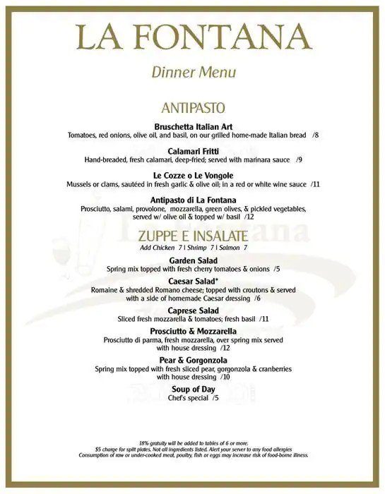 La Fontana Authentic Italian Restaurant Menu - Urbanspoon/Zomato - italian menu