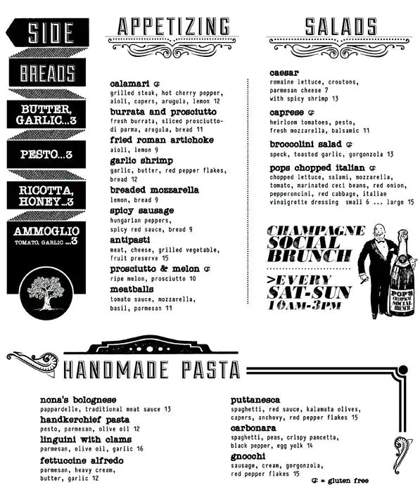 Pop\u0027s For Italian Menu, Menu for Pop\u0027s For Italian, Ferndale - italian menu