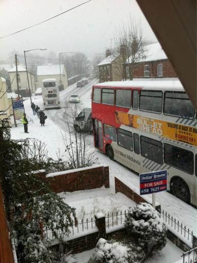 Cars struggle up Parsons Hill as buses become stuck by Laura Priestley