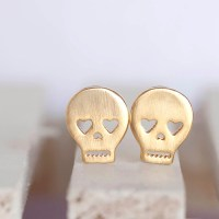 Gold Skull Stud Earrings, Skeleton Sugar Skull Ear Posts ...