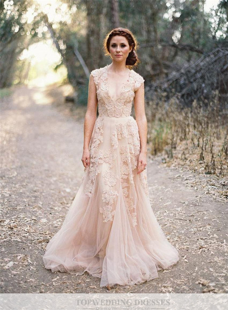 vintage lace pink wedding dresses champagne ruffles bridal gown cap sleeve deep v neck lace wed champagne colored wedding dress Vintage Lace Pink Wedding Dresses Champagne Ruffles Bridal Gown Cap Sleeve Deep V Neck Lace Wed on Luulla